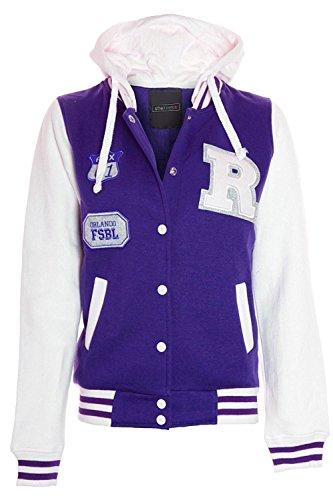 Shelikes Womens Baseball Varsity Jacket Plus Sizes UK 16 18 20 22 24 26 28 Purple/white