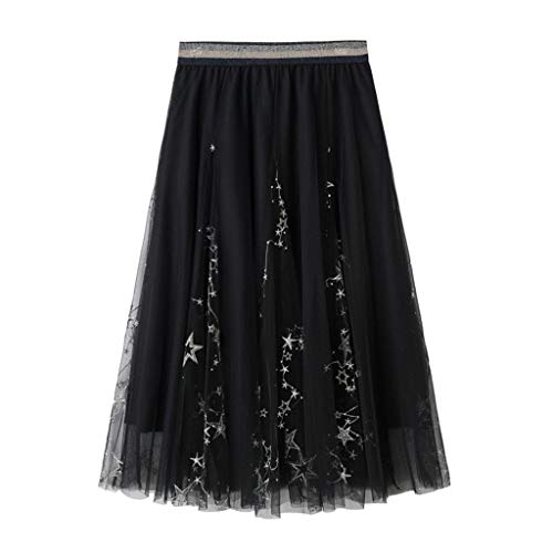 NEARTIME Women Mesh Skirt, Ladies One Size Embroidered Dress Three-Dimensional Leaf Fluffy Chiffon Skirts Pants ()