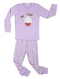 Elowel Little Girls Cupcake 2 Piece Pajama Set 100% Cotton (6M-8 Years)