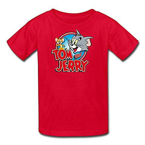 Kid's 100% Cotton Tom And Jerry Fashion T-Shirt Red US Size M (Tom And Jerry Tee Shirts)