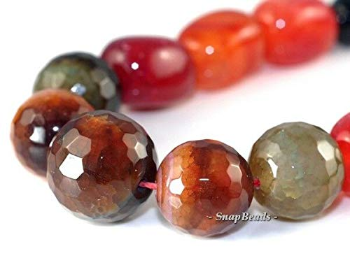 Rainbow Agate Gemstone Cushion Cube Gradual Facet Round 14-6MM Loose Beads 16.5