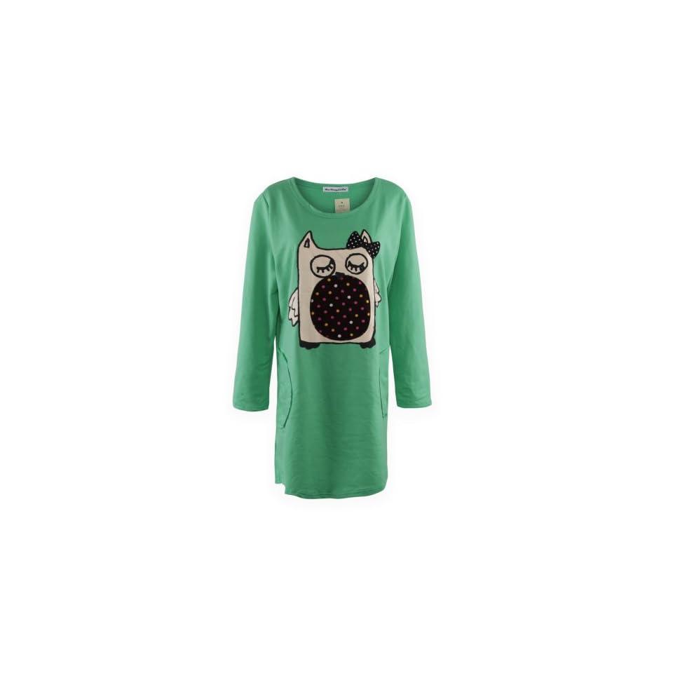 Gamiss Womens Bowknot Decor Figure Print Sweet Long Version Casual T shirt,Green,Regular Sizing 14