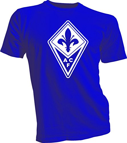 Fiorentina Football - ACF FIORENTINA WHITE LOGO SOCCER FOOTBALL SOCCER ITALY T-SHIRT BLUE LARGE