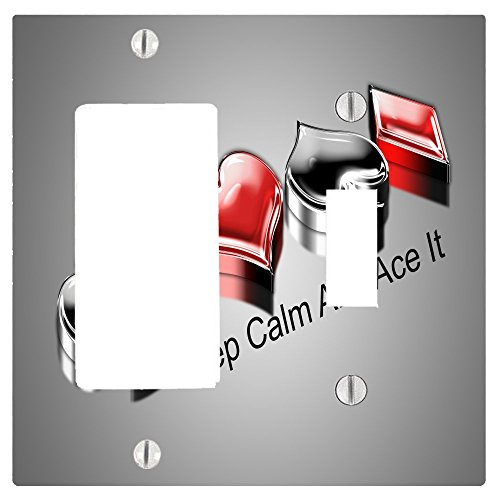 Keep Calm And Four Ace It Printed Design 2 Gang Toggle / Decorator Dimmer Wall Plate (4.75 x 4.69in)
