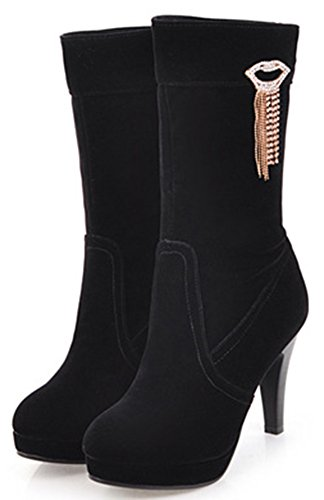 IDIFU Womens Unique High Stiletto Heel Pointed Toe Platform Mid Calf Booties With Pendant Black MyOFpW