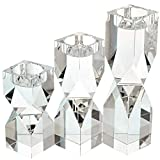 Amazing Home Large Crystal Candle Holders Set of 3, 4.6/6.2/7.7 inches Height, Prepackaged Elegant Heavy Solid Diamond Cut Tealight Holders Sets, Centerpieces for Home Decor and Wedding