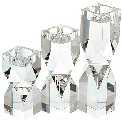 Amazing Home Large Crystal Candle Holders Set of 3, 4.6/6.2/7.7 inches Height, Prepackaged Elegant Heavy Solid Diamond Cut Tealight Holders Sets, Centerpieces for Home Decor and Wedding by Amazing Home