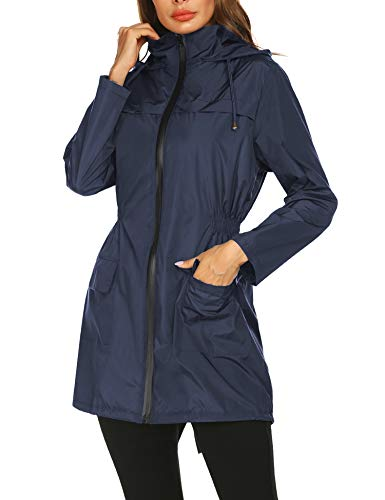 Packable Windproof Rain Jacket Waterproof with Hood Lightweight Outdoor Coats for Spring Summer Navy Blue