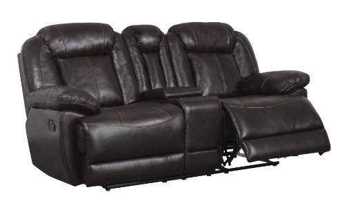 Global Furniture Console Reclining Loveseat, Brown