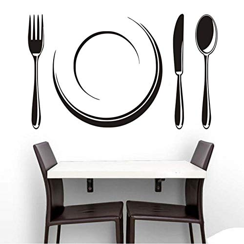 Creative Accents Wood Wall Plate - LONGHUI Creative Plate and Cutlery Set Restaurant Store Kitchen Decoration Family Home Decal Hollow Out Wall Sticker Mural Art Stickers 59X36CM