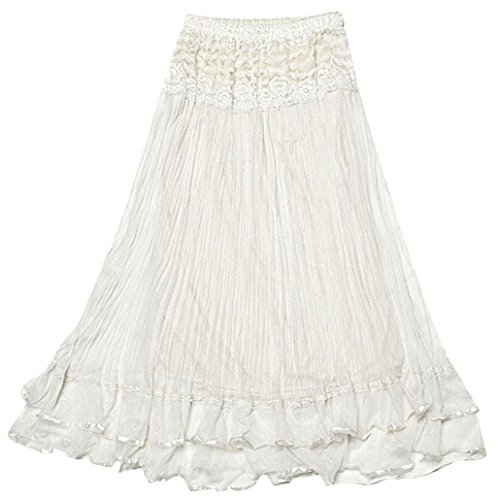 DEHANG Womens Lace Gauze Double Layer Elastic Waist Maxi Skirt - (Crinkle Gauze Skirt)