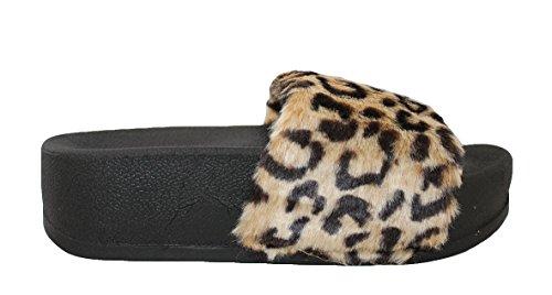 Soda Kvinners Fuzzy Flatform Tøffel Uformell Bad Utendørs Furry Creeper Sandal Tan Leo Pltrm