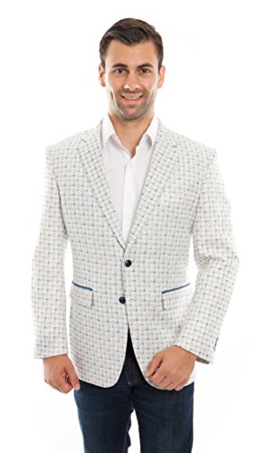 Tazio Mens Blazers Sports Jacket with Elbow Patch (44R, White Blue-01) (Sport Coats With Elbow Patches)