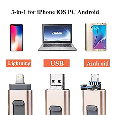 USB Flash Drive 128G, USB Memory Stick 128GB Jump Drive Thumb Drive 3.0 Flash Drive Compatible for iPhone/iPad/PC/Android Password/Touch ID Protected Flash Drive for iOS/iPhone (128G Gold)