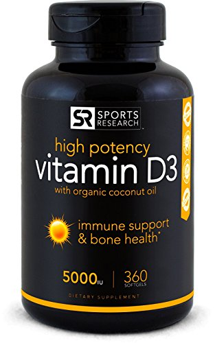 High Potency Vitamin D3 (5000iu) enhanced with Coconut Oil for Better Absorption ~ Bone, Joint and Immune system support ~ Non-GMO & Gluten Free, 360 Mini Liquid Softgels, Made in (Mineral Beauty System)