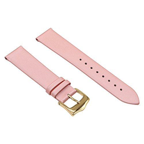 Band 10 Mm Watch (Pink Genuine Leather Thin Satin Twill Covered Watch Bands Strap Replacement 10mm for Girls)