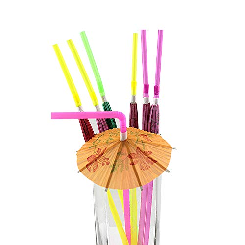 Flexible Colored Umbrella Straws,Disposable Bendy Plastic Drinking Straws Parasol Straws for Luau Parties, Island Themed Party (50 Pcs) ()
