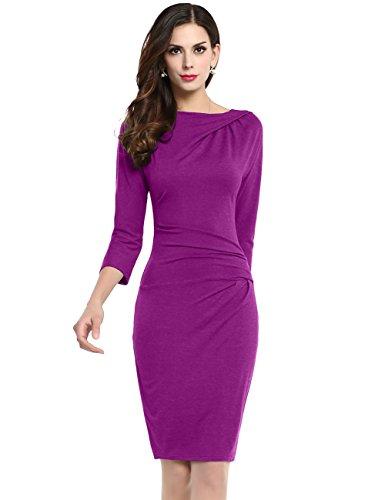 New cmz2005 Women Cotton Solid Three Quarter Draped Knee-Length Sheath Evening Dress 69273 for sale