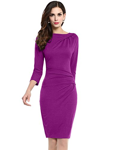 cmz2005 Women Cotton Solid Three Quarter Draped Knee-Length Sheath Evening Dress 69273 (S, Purple)