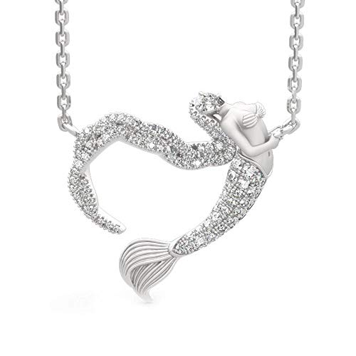 Krivox 1 ct Simulated Diamond 14k White Gold Finish Mermaid Pendant Necklace for Women's 14k Gold Diamond Mermaid Pendant