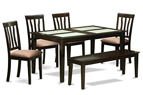 East West Furniture CAAN6G-CAP-C 6 Piece Glass Top Table and 4 Dining Chairs Kitchen Bench Set