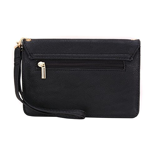 Conze Mujer embrague cartera todo bolsa con correas de hombro para Smart Phone para Motorola Moto E Dual SIM (2nd Gen) negro negro negro