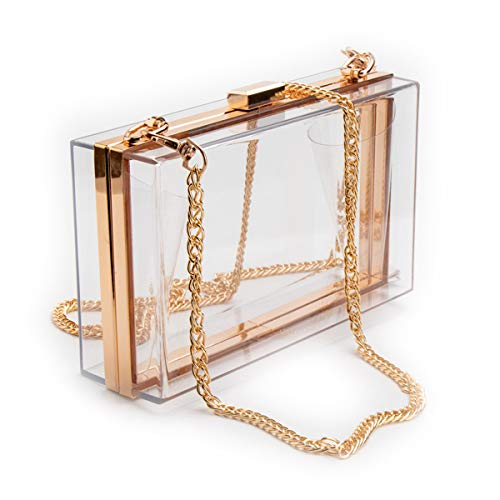 L-COOL Cute Transparent Acrylic Shoulder Bag Clear Crossbody Evening Clutch Bag With Gold Snake Chain Shoulder Strap For Women (White ()