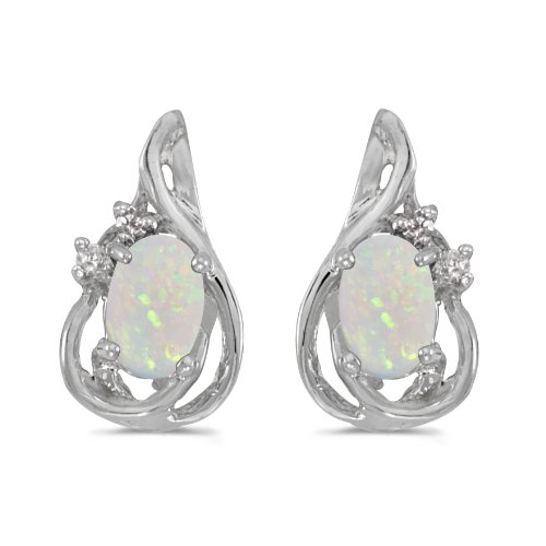 10k White Gold .38 ct Oval Opal 6x4mm Gemstone .04 ct Diamond Accented Teardrop Earrings for Women