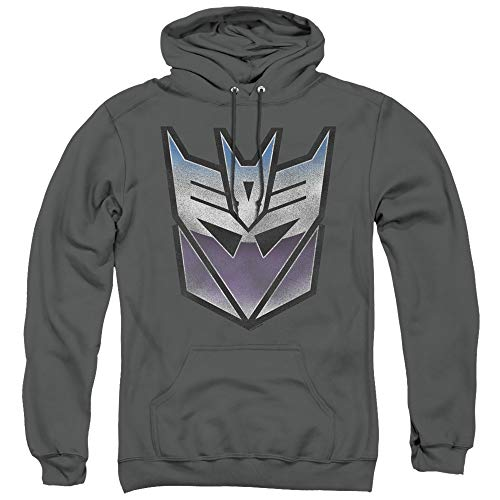 Transformers Vintage Decepticon Logo Unisex Adult Pull-Over Hoodie for Men and Women, Medium Charcoal