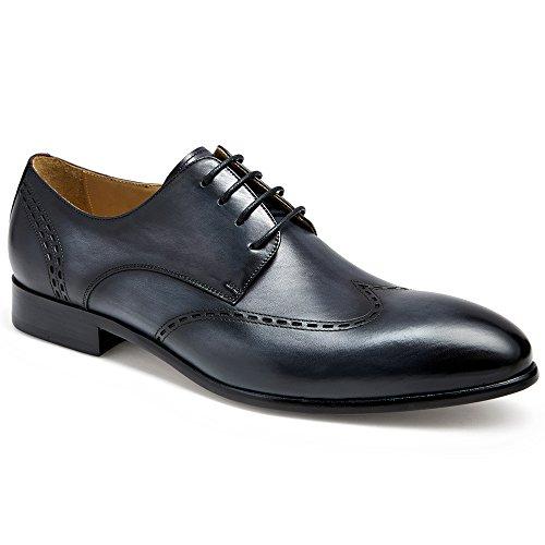 Gifennse Mens Lace Up Oxford Dress Scarpe Classiche Blue-4