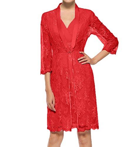 Lang Langarm Brautmutterkleider Damen Charmant Ballkleider Rot Spitze Knielang Abendkleider Partykleider Jaket zqaznP4xw