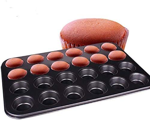 Jltx、私の 24カップミニマフィンカップケーキパンモールドノンスティックベーキングトレイケーキパン卵タルト統合円形の金型キッチンベーキングツール (色 : 24 cups)