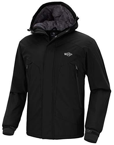 Wantdo Men's Waterproof Warm Snow Jacket Hooded Fleece Lined Winter Outwear Raincoat Wind Breaker for Skiing(Black, Large)