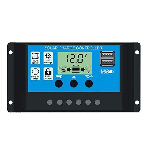 20A Solarladeregler Solarpanel Akku Intelligenter Regler mit USB-Port-Anzeige 12V / 24V - Schwarz