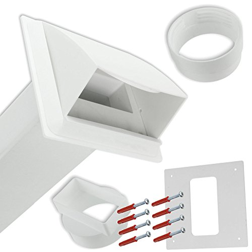 Spares2go PVC External Wall Vent Cowl Kit for Lamona Vented Tumble Dryers (White)