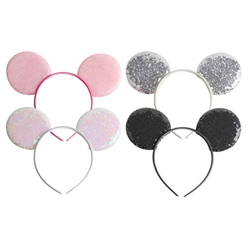 YanJie Sparkly Sequin Minnie Ear Headband 4pcs/Pack