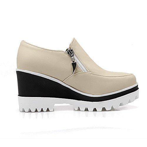 AllhqFashion Damen Rein PU Mittler Absatz Rund Zehe Reißverschluss Pumps Schuhe Cremefarben