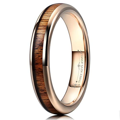 THREE KEYS JEWELRY 4mm Tungsten Carbide Wedding Ring for Women with Koa Wood Inlay Plated Rose Gold Domed Wedding Band Engagement Ring Comfort Fit Size 4.5