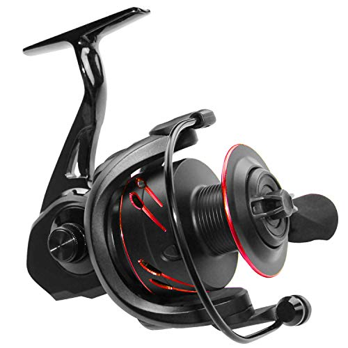 Thekuai Spinning Fishing Reels 12+1 BB Corrosion Resistant Bearings Smooth Powerful Fishing Reel Spinning 5.0: 1 Gear Ratio Reels Left/Right Interchangeable (red) (GS.3000, L&R) (Best Saltwater Spinning Reel 2019)