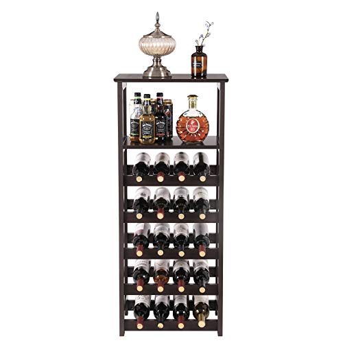 VASAGLE 20 Wooden Wine Rack, Free Standing Bottles Display Storage Shelf, with 2 Slatted Shelves,18.4