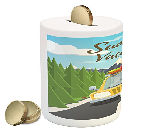(Lunarable Cars Piggy Bank, Summer Vacation Theme Happy Family Traveling in The Car on The Road with Green Trees, Printed Ceramic Coin Bank Money Box for Cash Saving, Multicolor)