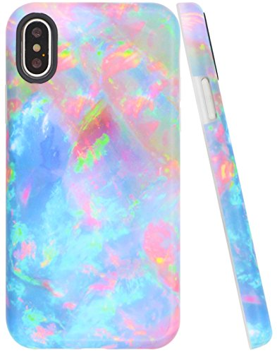 A-Focus Case for iPhone Xs Opal Case, iPhone X Case, Pink Blue Green Marble Shock Proof IMD Design Slim Fit Anti-Finger Flexible Ruber Cover Case for iPhone X iPhone Xs 5.8 inch Matte Colorful ()
