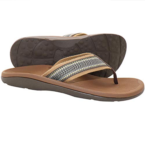IRSOE Plantar Fasciitis Feet Sandal Flip Flops with Arch Support Men's Orthotic Sandals - Summer Essential Sandals Outdoor & Indoor - Brown 10US/43EU