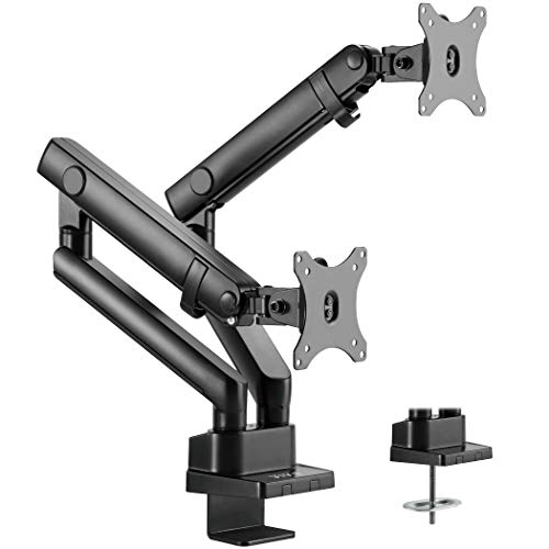 VIVO Premium Aluminum Full Motion Dual Monitor Desk Mount Stand with Lift Engine Arm | Fits Screens up to 32
