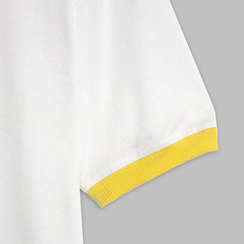 Couleur Haut Vêtements Tops Blanc Rond Gilet Bananes T Casual Femmes shirt Court Blouse Adeshop Col Chic Mode Stretch Loose Slim Impression Courtes Paragraphe Pure Manches OBRqW6