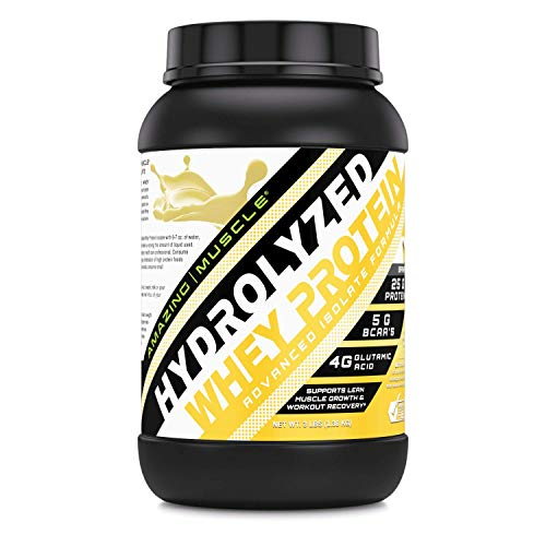 Amazing Muscle Ultra Pure Hydrolyzed Whey Protein Isolate * Supports Lean Muscle Growth Rapid Recovery Banana