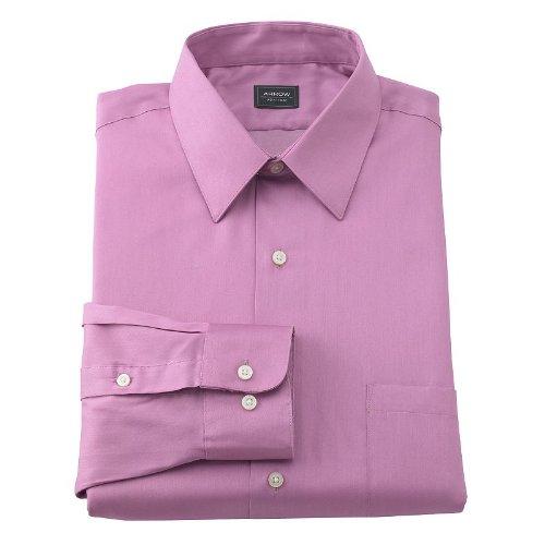 Arrow Point Collar Dress Shirt - Arrow Mens Classic Fit Point-Collar Sateen Dress Shirt Solid Pink (15 Neck 32/33 Sleeves)