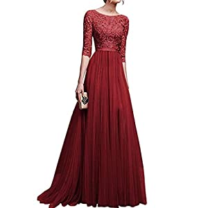 CANHOT Women's Floral Lace Vintage Half Sleeve Wedding Formal Maxi Long Dress
