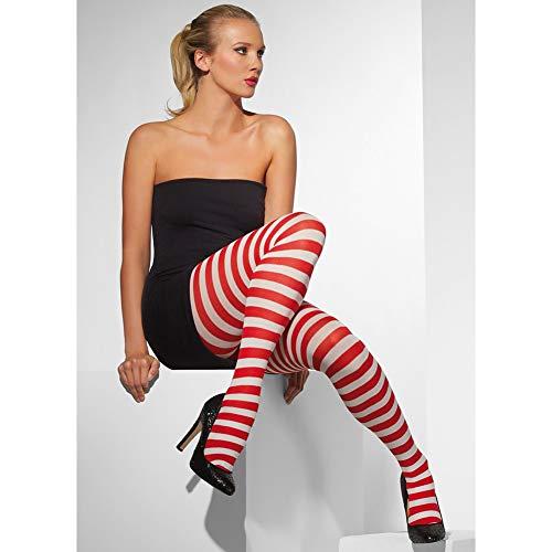 Smiffys Fever. ondoorzichtige panty voor dames, gestreept, één maat, rood-wit, 42736