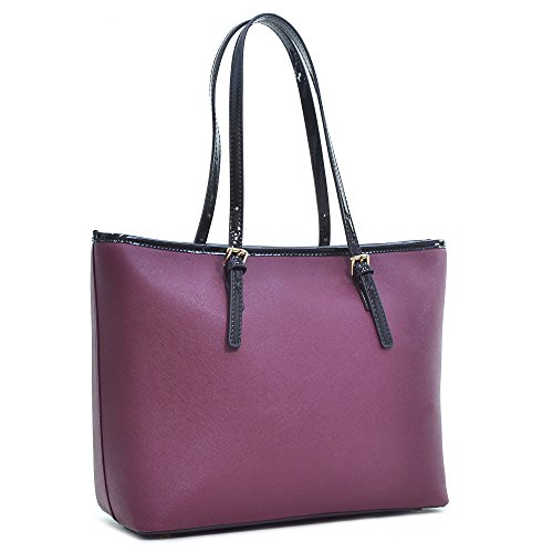 Dasein Women's Classic Designer Carry All Saffiano Faux Leather Tote Bag Shoulder Bag Work Bag (6553 Wine)